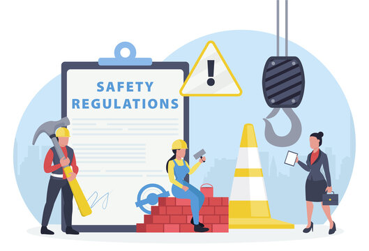 Vector of an OSHA inspector visiting construction site to assure occupational safety and health of workers