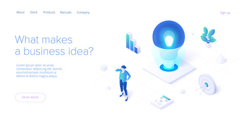 Fototapeta Brainstorming session concept in isometric vector illustration. Brain storm or strategic thinking as business research. Web banner template. obraz