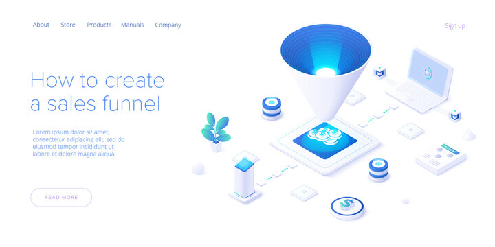 Sales funnel concept in isometric vector illustration. Customer conversion stages as marketing tool. Business strategy filter. Web banner layout template.
