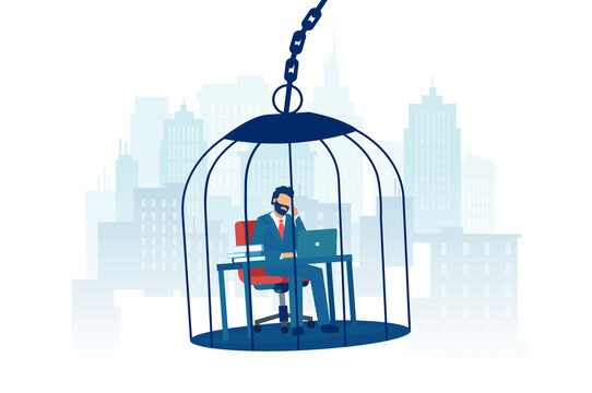Vector of a sad business man working at desk inside a birdcage on a city background