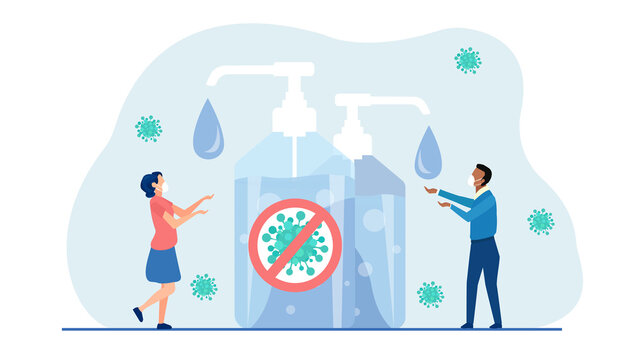 Vector of a man and woman washing hands using hand sanitizer to prevent coronavirus infection