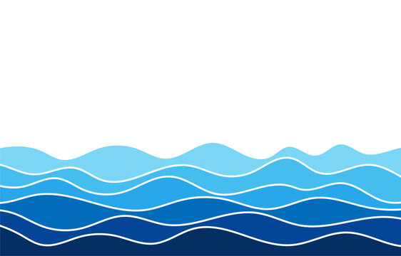 Blue water wave line flowing sea pattern background banner vector.