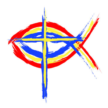An abstract vector illustration of the ichthus a Christian emblem symbolic of the Holy Eucharist which is the multiplication of loaves and fishes
