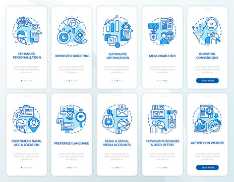 Smart content blue onboarding mobile app page screen with concepts set. Targeting strategies walkthrough 5 steps graphic instructions. UI, UX, GUI vector template with linear color illustrations