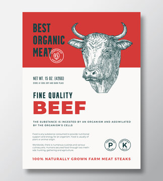 Best Organic Meat Abstract Vector Packaging Design or Label Template. Farm Grown Beef Steaks Banner. Modern Typography and Hand Drawn Cow Head Silhouette Background Layout with Soft Shadow