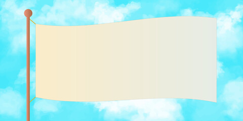 A big flag fluttering in the blue sky. Realistic cloud and sky vector illustration background. landscape, copy space, web header, banner, footer, frame
