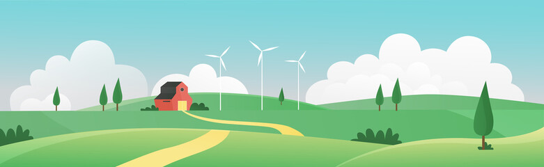 Farm summer wide panorama landscape vector illustration. Cartoon farmland countryside background scene with farmer house through green grass field, meadow hills