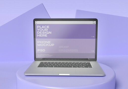 Front View of Laptop Mockup