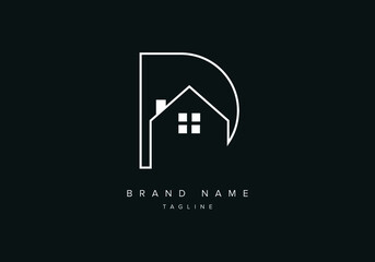 Fototapeta Line art logo icon of Home or house with alphabet letter D, real estate logo icon obraz