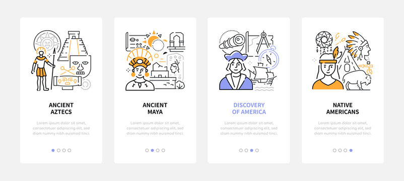 History - modern line design style web banners