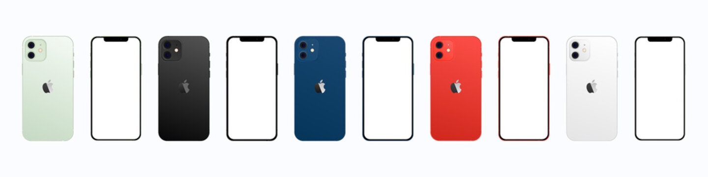 Apple iPhone 12 in colors. Iphone mockup set. Vector illustration isolated on a white background. Vinnytsia, Ukraine - April 6, 2021