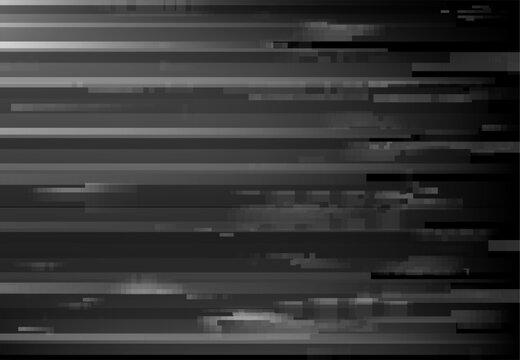 Monochrome screen glitch, signal loss digital noise background. Broken computer monitor or TV display, VHS cassette fail or program bug vector background. Pixels on glitching screen effect