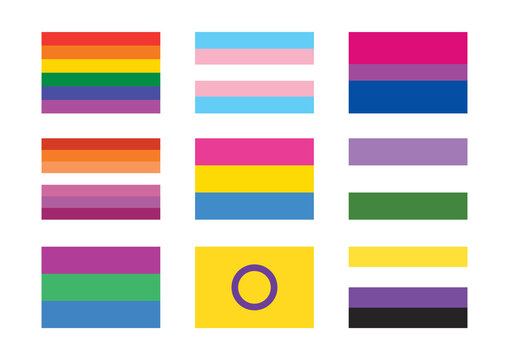 Different pride flag icon set vector. LGBTQIA flag collection vector. Different types of gender flags isolated on a white background