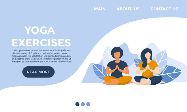 website for yoga and meditation school or course .yoga and mental health concept.