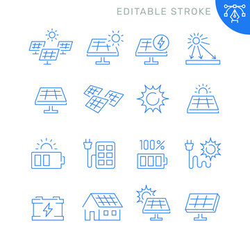 Solar panel related icons. Editable stroke. Thin vector icon set