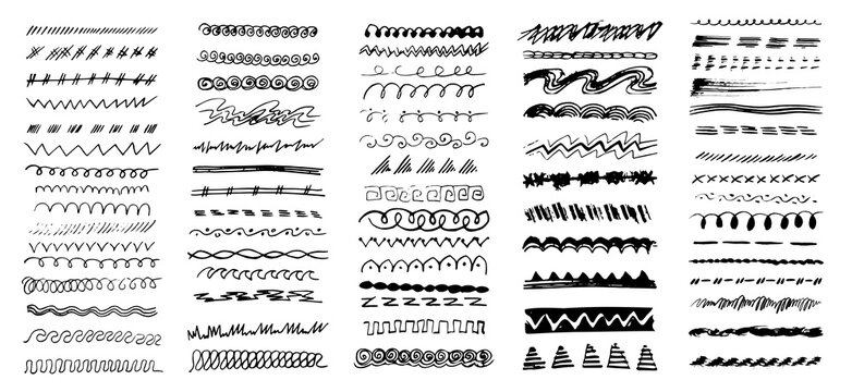 Hand drawn border line set, design element, beautiful decoration. Dividers, borders, borders, brush lines. Trendy doodle style design elements. Abstract geometric ornaments. Vector illustration