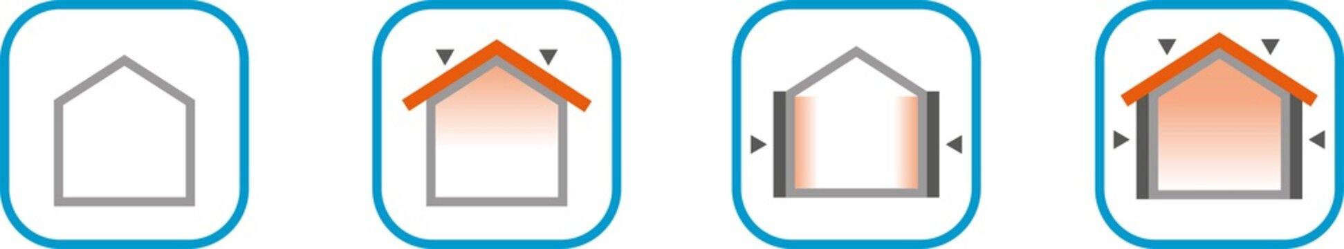 Icone isolamenti termici per la casa