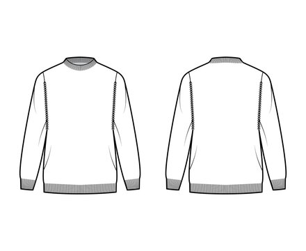 Fisherman Sweater technical fashion illustration with rib crewneck, long sleeves, oversized, hip length, knit trim. Flat jumper apparel front, back, white color style. Women, men unisex CAD mockup