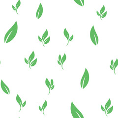 Leaves seamless pattern. Nature texture background. Leaf vector icon.