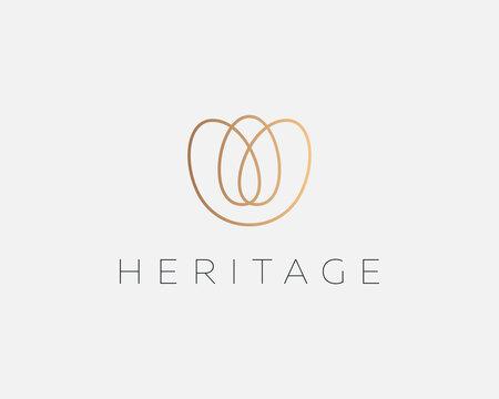 Elegant flower logo design. Elegant premium boutique jewelry salon spa yoga vector sign symbol logotype in trendy style.