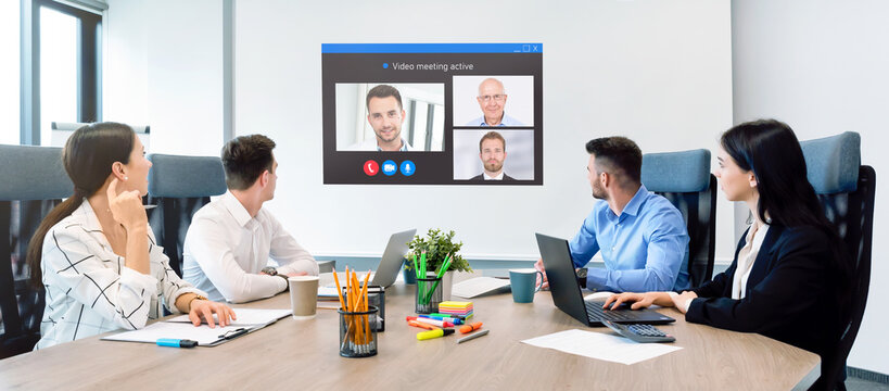 Business conference, remote video chat concept