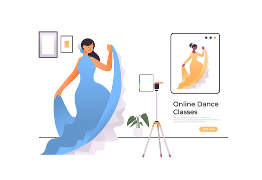 female dancer dressed in eastern style doing dancing exercises online video training program workout