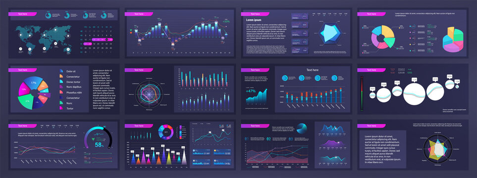 Infographic dashboard mockups with pie charts, information, diagrams and graphs. Presentation slides online statistics and data analytics. Template gradient UI, UX, info panels. Vector graphics set