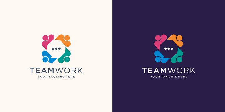 Abstract people vector logo design represents teamwork, diversity, signs and symbols. Premium Vector
