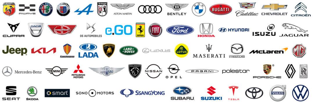 Recke, Germany - April 07, 2021: Car brands logos icons vector set collection. VW, BMW, Audi, Mercedes, Lexus, Renault, Seat, Fiat, Citroen, Opel, Ferrari, Jaguar, Kia, Ford, Toyota, Honda. Vector