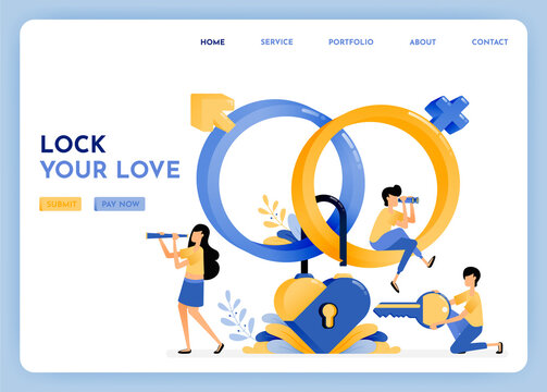 Find a loyal life partner with dating apps. 3d sex education symbol of venus, mars, gender, heart, key, padlock. Matchmaking by protect privacy. Illustration for landing page, web, website, poster, ui