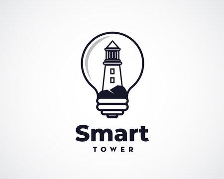 smart idea lighthouse light bulb logo symbol design illustration