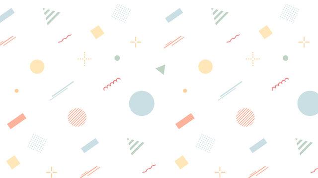 幾何学模様のカラフルな背景 パターン ポップ 図形 丸 四角 三角 フラット かわいい