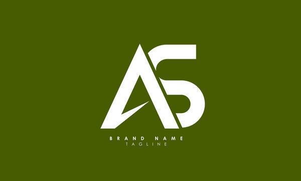 Alphabet letters Initials Monogram logo AS, SA, A and S