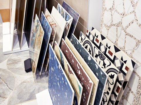 Colored pattern porcelain stoneware tiles in store