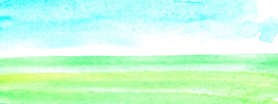 Sunny meadow, the land with green grass and blue sky, abstract summer watercolor background. Stain blot spot blob. Template for postcard, banner, illustration