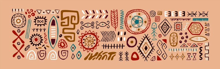 Fototapeta Set of abstract African tribal geometric shapes, ancient ethnic traditional symbols and ornate signs. Hand-drawn oriental elements in doodle style. Isolated colored flat vector illustrations obraz