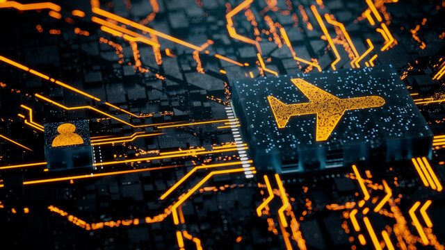 Flight Technology Concept with airplane symbol on a Microchip. Orange Neon Data flows between the CPU and the User across a Futuristic Motherboard. 3D render.