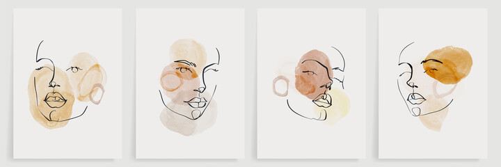 Surreal faces abstract art background vector. Portrait abstract face one line drawing with modern continuous line art and abstract geometric art style. Good for poster, wall art, print, cover design.