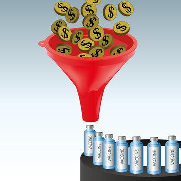 Concept de l'investissement dans la rechercher scientifique, avec comme symbole, des dollars passant au travers d'un entonnoir pour produire un vaccin.