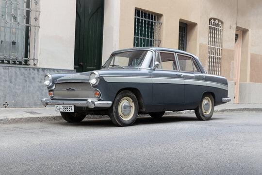 SABADELL, SPAIN-APRIL 6, 2021: 1961 Austin Cambridge A60 (saloon)