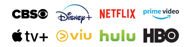 Top platforms streaming service providers logo set. Editorial image. VINNITSIA, UKRAINE. APRIL 07, 2021.
