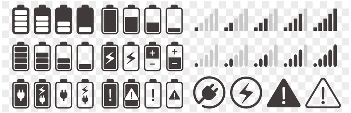 Signal and battery icons. Network signal strength and telephone charge level.