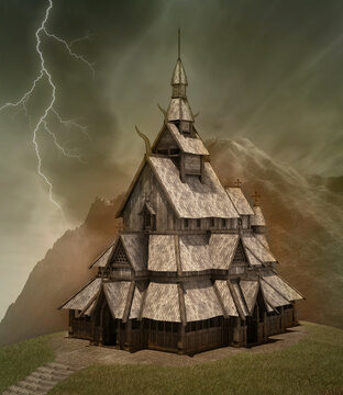 Ancient building in the mountains inspired by nordic culture in furious stormy weather scenery