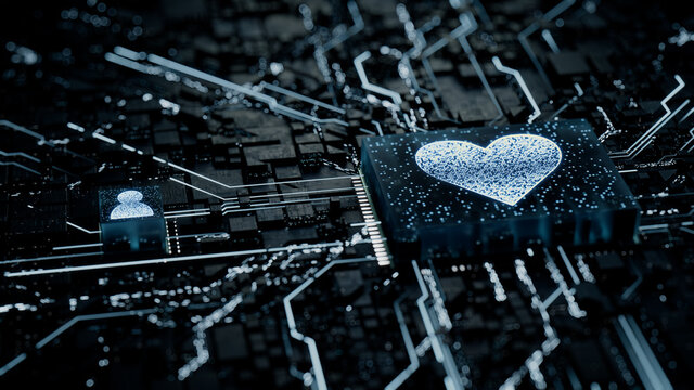 Love Technology Concept with heart symbol on a Microchip. White Neon Data flows between the CPU and the User across a Futuristic Motherboard. 3D render.