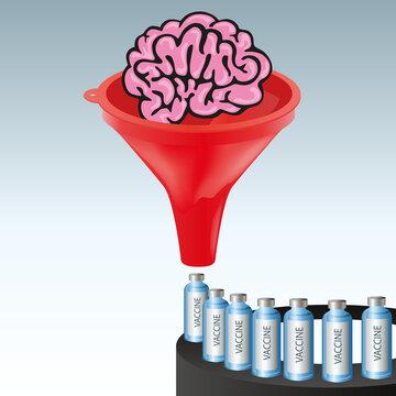Concept de la recherche scientifique, avec comme symbole, un cerveau passant au travers d'un entonnoir pour produire un vaccin contre le COVID-19.