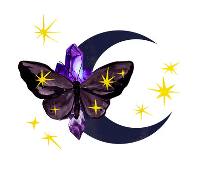 Moon with magic energy butterfly with stars, magical crystal gem stone. Watercolor beautiful astrology esoteric illustration