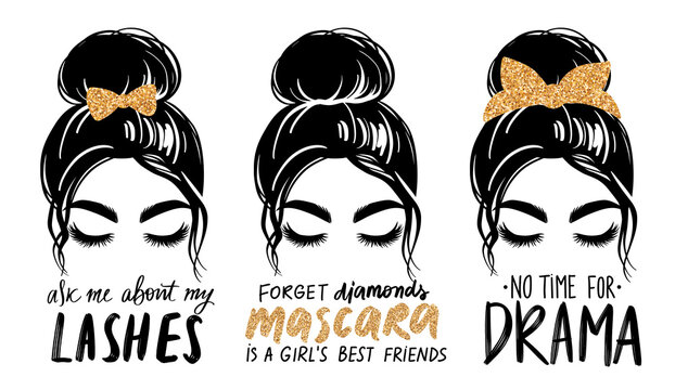 Messy bun with golden glitter bandana or headwrap and hair bow. Vector woman silhouette. Fashion quotes about mascara, lashes, makeup