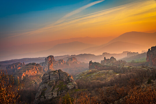 Dramatic sunset over the beautiful canyon like geological park in Belogradchik, Bulgaria