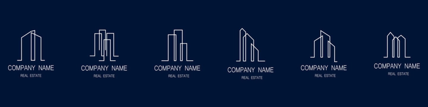 Skyscraper logos set. Badges for real estate business or construction company. Houses, apartments and offices. Construction and sale. Modern design. Vector illustration