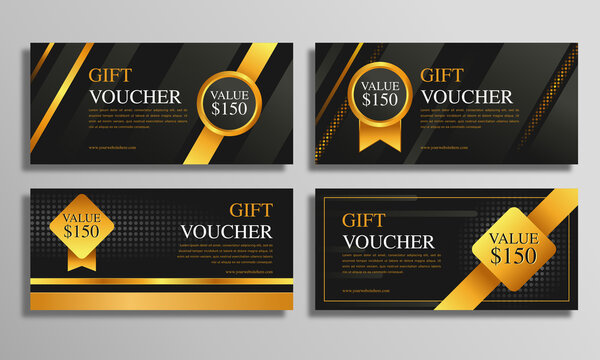 Gold luxury vouchers gift template set, coupon designs, certificates, ticket templates, ready to edit and use.